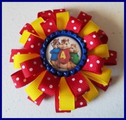 Alvin and the Chipmunks 3 Layer Bottle Cap Hair Bow #C1 choose image and colors