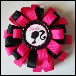 Barbie 3 Layer Bottle Cap Hair Bow #A1 (you choose image and ribbon colors)