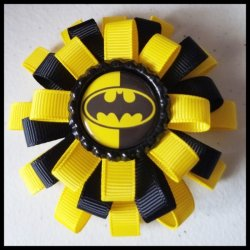 Batman 3 Layer Bottle Cap Hair Bow #B1 (you choose image and ribbon colors)