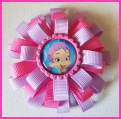Bubble Guppies 3 Layer Bottle Cap Hair Bow #C1 (you choose image ribbon colors)