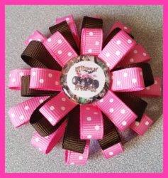 4 Wheeler 3 Layer Hair Bow #B1 (you choose image and ribbon colors)