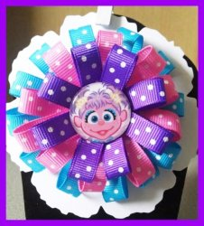 Abby Cadabby 3 Layer Hair Bow #C8 (you choose image and ribbon colors)