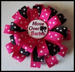 Barbie 3 Layer Hair Bow #A2 (you choose image and ribbon colors)