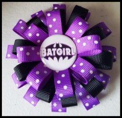 Batman 3 Layer Hair Bow #B7 (you choose image and ribbon colors)