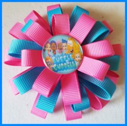 Bubble Guppies 3 Layer Hair Bow #C3 (you choose image and ribbon colors)
