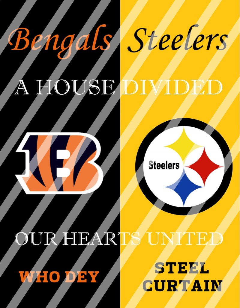 Bengals Steelers House Divided Wall Decor Sign (digital or shipped)