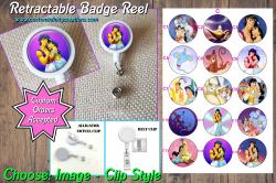 Aladdin Jasmine Retractable Badge Reel #C14 (choose image and clip)