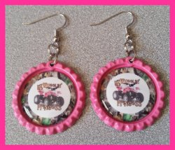 4 Wheeler Quad Bottle Cap Dangle Earrings B1 (choose image and bottle cap color)