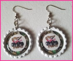 4 Wheeler Quad Bottle Cap Dangle Earrings #B1a (choose image, bottle cap color)