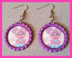 Abby Cadabby Bottle Cap Dangle Earrings #C3 (choose image and cap color)