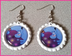 Aladdin Jasmine Bottle Cap Dangle Earrings #B12 (choose image and cap color)