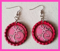 Browning Bottle Cap Dangle Earrings #A2 (choose image and bottle cap color)