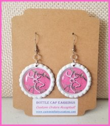 Browning Bottle Cap Dangle Earrings #A2a (choose image and bottle cap color)