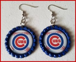 Chicago Cubs Bottle Cap Dangle Earrings #A6a (choose image and bottle cap color)