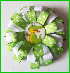 Alligator Crocodile 3 Layer Hair Bow #A9 (you choose image and ribbon colors)
