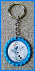 Disney Frozen Bottle Cap Keychain #E1 (you choose image and bottle cap color)