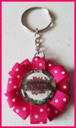 4 Wheeler Ribbon Keychain #B2 (you choose image and ribbon color)