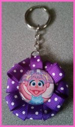Abby Cadabby Ribbon Keychain #B12 (you choose image and ribbon color)