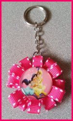 Aladdin Jasmine Ribbon Keychain #C13 (you choose image and ribbon color)