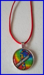 Autism Awareness Bezel Pendant Cord Necklace #L3 (choose image, cord color)