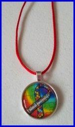 Autism Awareness Bezel Pendant Cord Necklace #L3 (choose image, cord color)