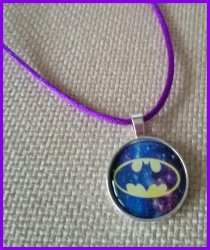 Batman Silver Bezel Pendant Cord Necklace #D13 (choose image, cord color)