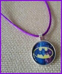 Batman Silver Bezel Pendant Cord Necklace #D13 (choose image, cord color)
