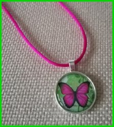 Butterfly Silver Bezel Pendant Cord Necklace #A4 (choose image, cord color)