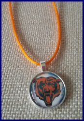 Chicago Bears Silver Bezel Pendant Cord Necklace #D11 (choose image, cord color)