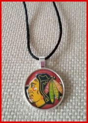 Chicago Blackhawks Bezel Pendant Cord Necklace #A8 (choose image, cord color)