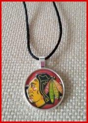 Chicago Blackhawks Bezel Pendant Cord Necklace #A8 (choose image, cord color)