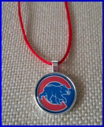 Chicago Cubs Silver Bezel Pendant Cord Necklace #A4 (choose image, cord color)