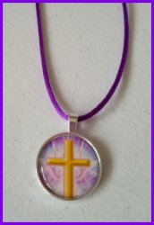 Christian Silver Bezel Pendant Cord Necklace #B2 (choose image, cord color)