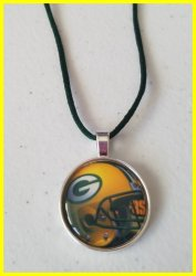 Green Bay Packers Bezel Pendant Cord Necklace #A5 (choose image, cord color)