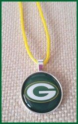 Green Bay Packers Bezel Pendant Cord Necklace #A10 (choose image, cord color)