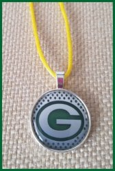 Green Bay Packers Bezel Pendant Cord Necklace #B5 (choose image, cord color)