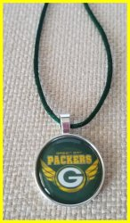 Green Bay Packers Bezel Pendant Cord Necklace #B11 (choose image, cord color)