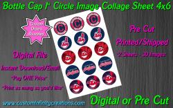 Cleveland Indians Bottle Cap 1 Circle Images Sheet #1 (digital or pre cut)