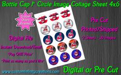 Cleveland Indians Bottle Cap 1 Circle Images Sheet #2 (digital or pre cut)
