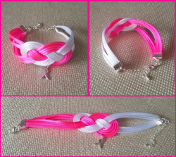 '.Breast Cancer Ribbon Bracelet.'