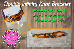 Black and Orange Double Infinity Knot Bracelet