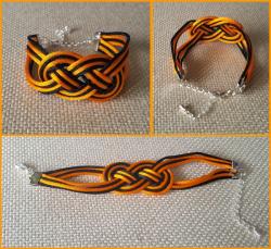 '.Black Orange Infinity Bracelet.'