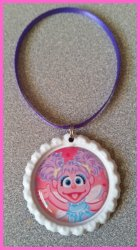 Abby Cadabby Bottle Cap Ornament #A13 (you choose image and colors)