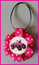 4 Wheeler Quad Ribbon Ornament #A5 (you choose image and colors)