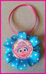 Abby Cadabby Ribbon Ornament #C8 (you choose image and colors)