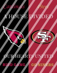 49ers Cardinals House Divided Wall Decor Sign (digital or shipped)