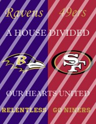 49ers Ravens House Divided Wall Decor Sign (instant download,print,framed)