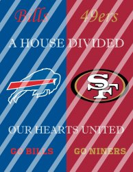 49ers Bills House Divided Wall Decor Sign (instant download,print,framed)