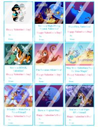 Aladdin Jasmine Valentines Day Cards Sheet #1 (instant download or printed)