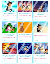 Aladdin Jasmine Valentines Day Cards Sheet #2 (instant download or printed)